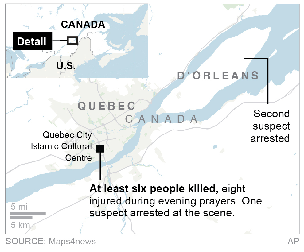 Map of Quebec (The Associated Press)