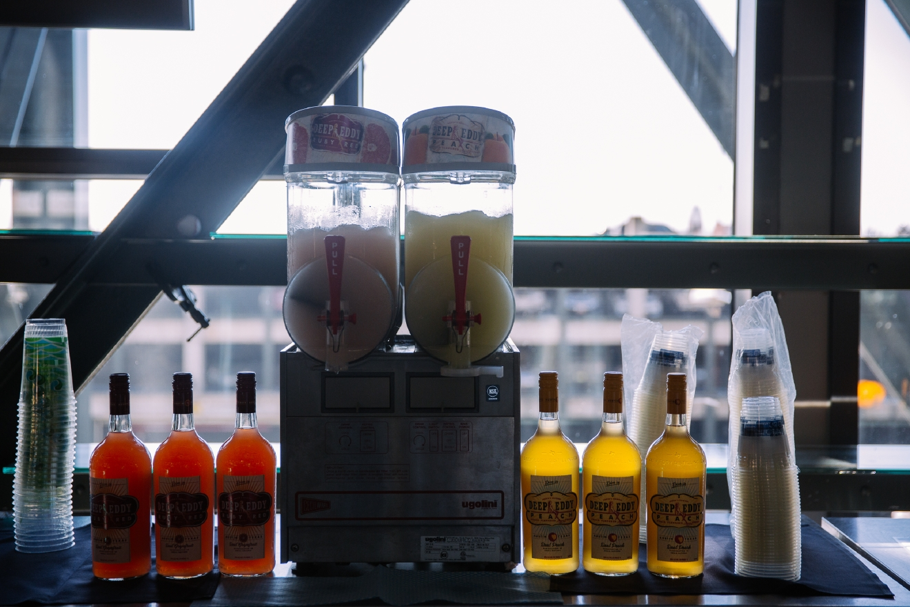 Deep Eddy Vodka Slushie machine is the first one in the state of Washington. Deep Eddy Vodka Peach or Grapefruit Slushies with Deep Eddy Flavored Vodka from The Terrace Club Lounge $10.50. (Image: Joshua Lewis/Seattle Refined).