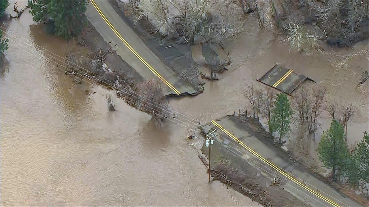 Floodwaters ripped through this road in the Pendleton, Oregon area Friday, Feb. 7, 2020. (Photo: Chopper 2/KATU)