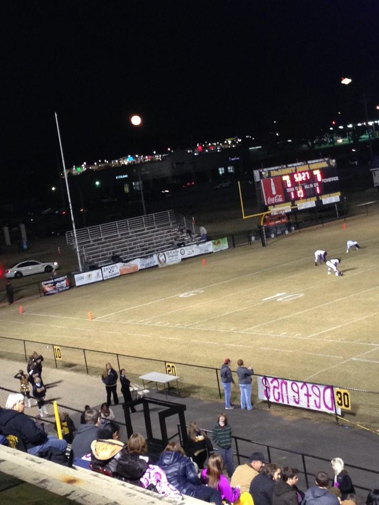 Huge moon can be seen during pregame at McAdory High School, Friday, Nov. 7, 2014.
