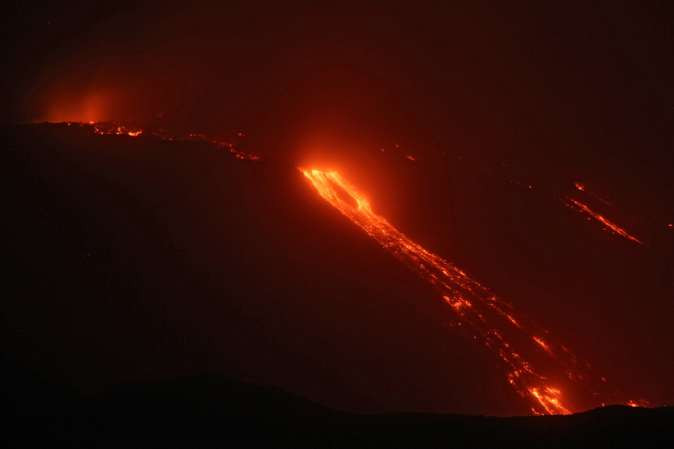 View of lava flows from Trecastagni, Zafferana, Giarre, Fornazzo as Mount Etna continues to erupt; the flows that start from the south east crater pour into the Valle del Bove (Valley of the Ox).  Where: Sicily, Italy When: 19 Mar 2017 Credit: IPA/WENN.com  **Only available for publication in UK, USA, Germany, Austria, Switzerland**