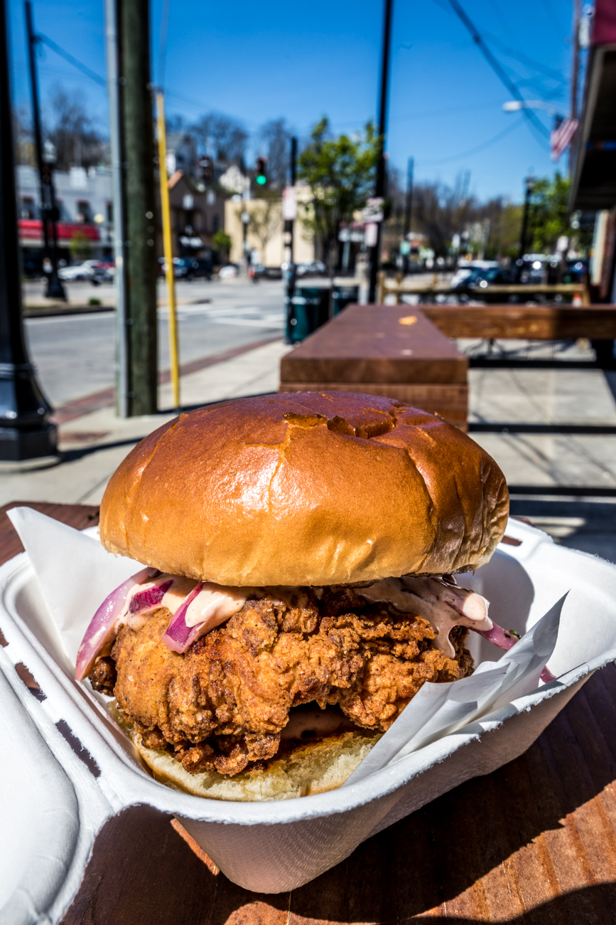 Fried chicken sandwich with pickles and aji amarillo aioli / Image: Catherine Viox{ }// Published: 4.28.20
