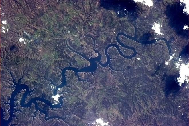 Today's photo is a river doing impersonations: Look, I'm a Stag Beetle! (Photo & Caption: Col. Chris Hadfield, NASA)