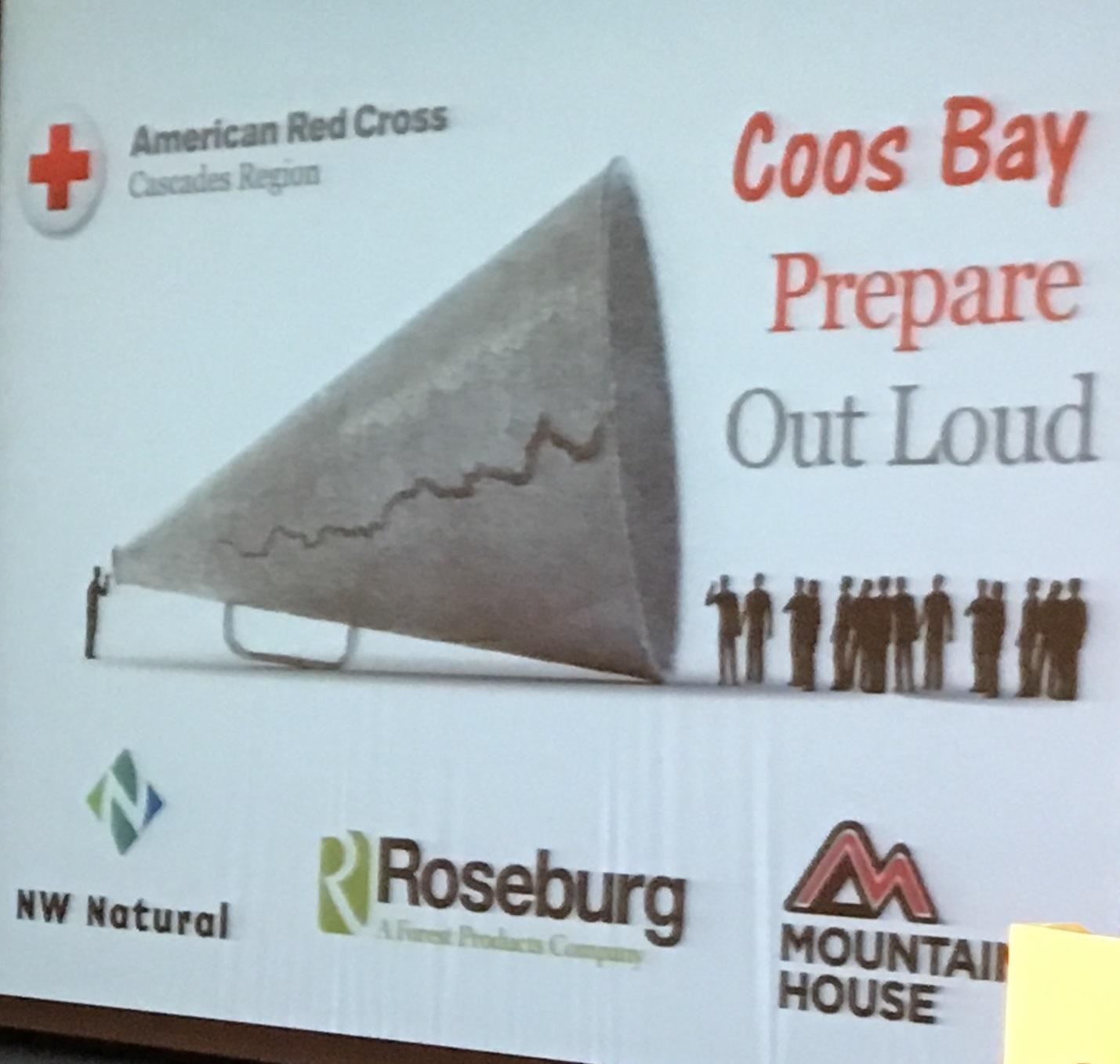 """Prepare Out Loud"" for a major earthquake was the message at a preparedness presentation in Coos Bay Monday night. (SBG photo)"
