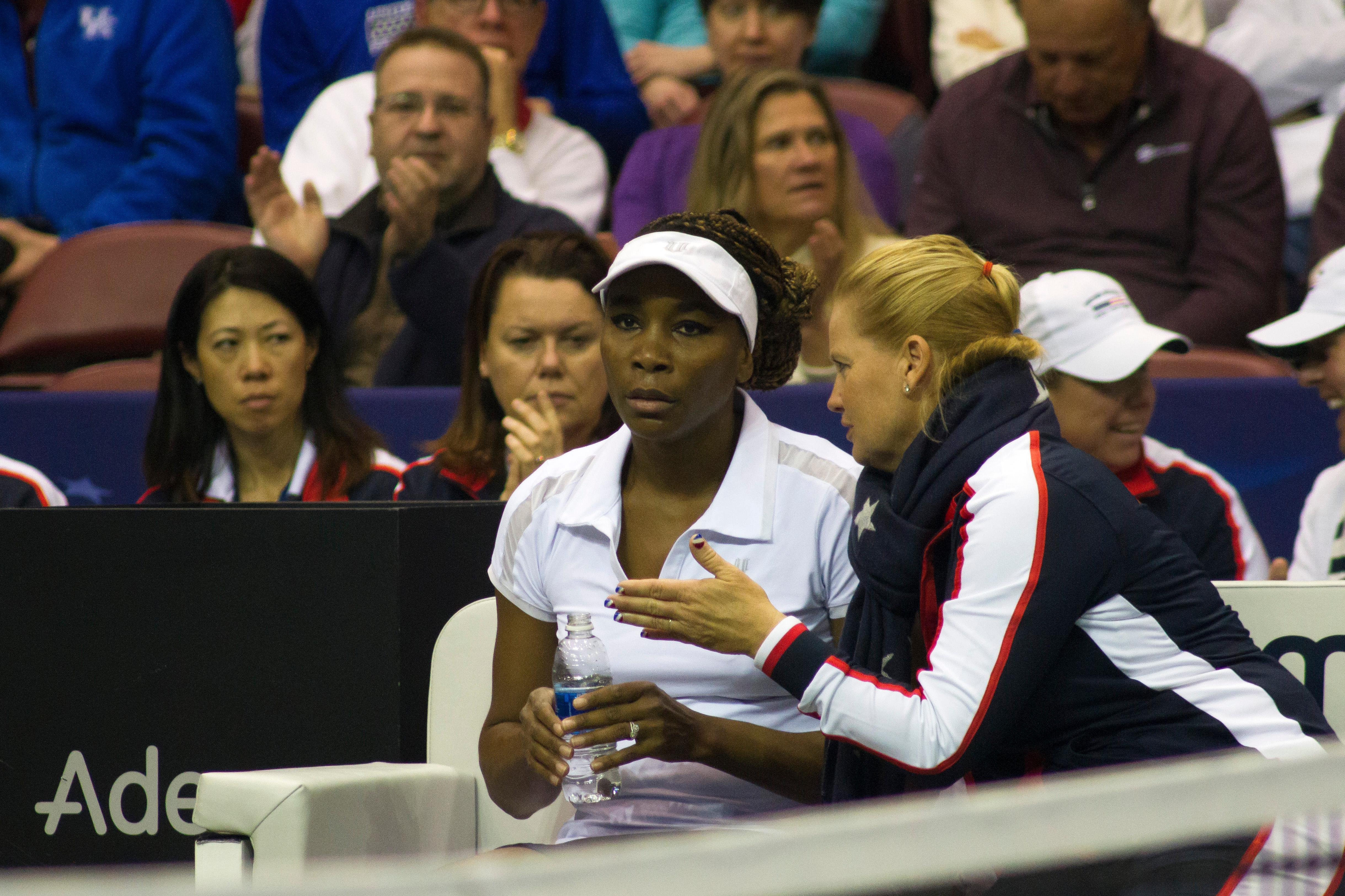 Venus Williams kicks off the Fed Cup in Asheville on Feb. 10, 2018. Williams went on to defeat Netherland's Arantxa Rus. (Photo credit: WLOS Staff)