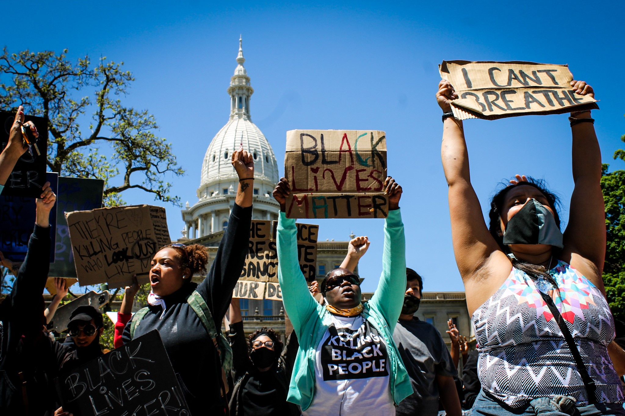 A protest in Lansing on Sunday, May 31, 2020 began peaceful, before turning violent as the night went on. (WWMT/Mikenzie Frost)