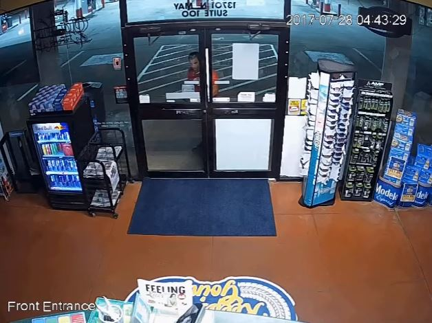 Surveillance video shows a serial burglar July 28 breaking into Station North Pointe, 13701 N. May. (Oklahoma City Police Department)