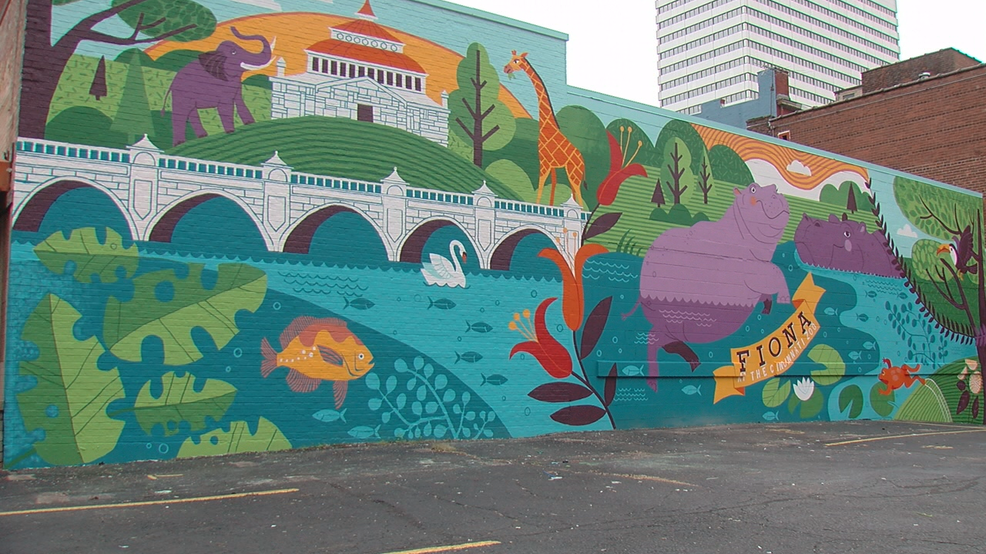 mural dedicated to famous baby hippo fiona unveiled in cincinnati wrgt