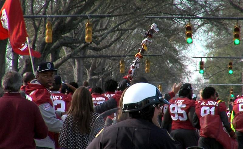 The Alabama football team walks down University Blvd. during the BCS Championship parade on Saturday, January 19, 2013.