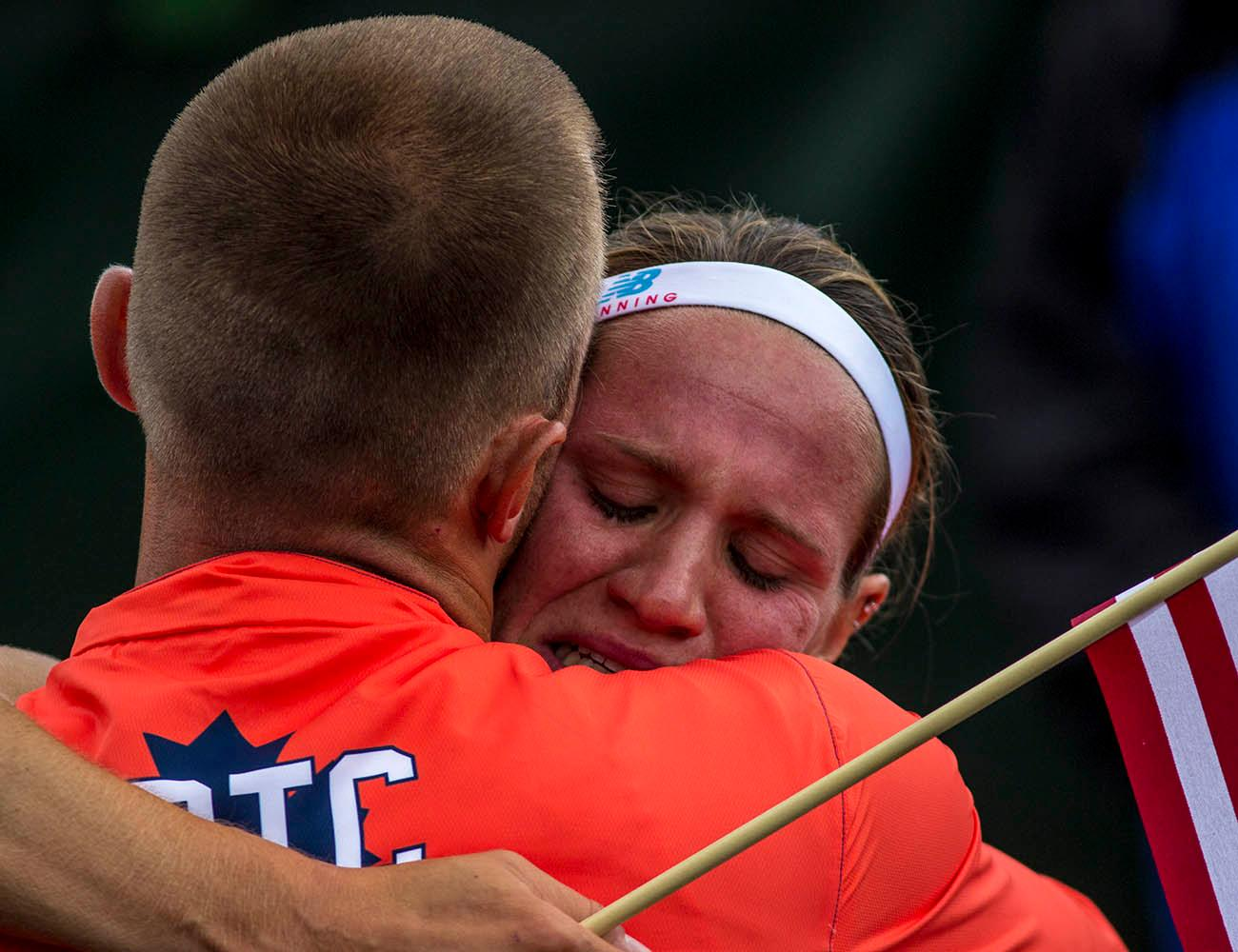 Central Park TC�s Heather Miller-Koch hugs a teammate after qualifying for the Rio Olympics in the Women�s Heptathlon. Miller-Koch finished second with 6,423 points. Day 10 of the U.S. Track and Field Trials concluded Sunday at Hayward Field in Eugene, Ore. The competition lasted July 1 through July 10. Photo by Amanda Butt
