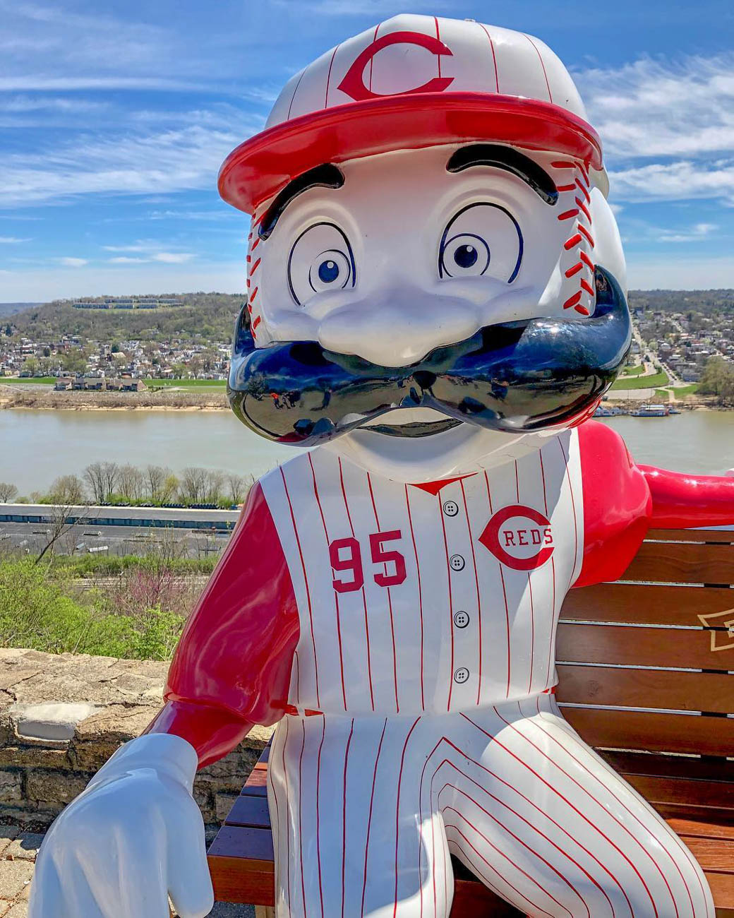 Mr. Redlegs loves a scenic view almost as much as he loves the Big Red Machine. / Location: Twin Lakes Overlook at Eden Park / Uniform: 1995 / Image courtesy of Instagram user @cincygirl.54   // Published: 5.14.19