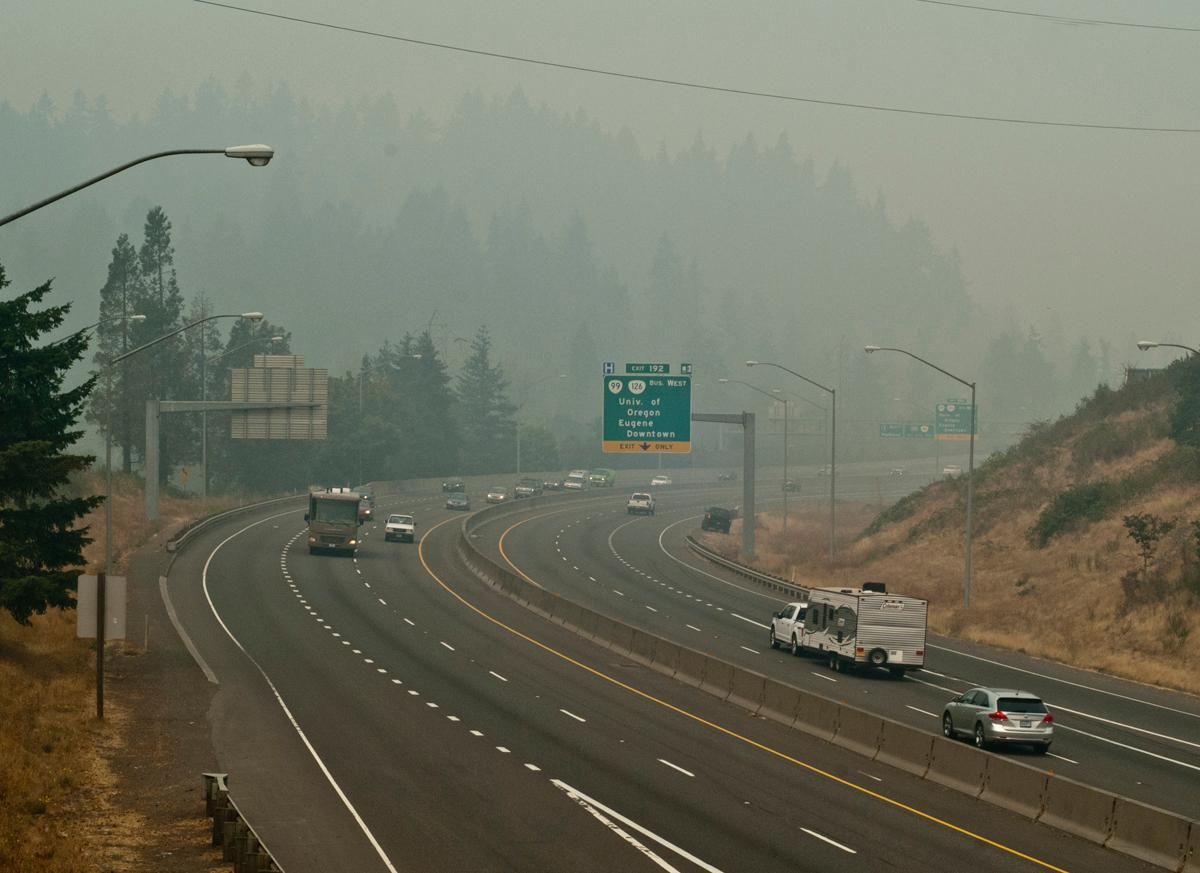 Highway I-5 looking north from the Glenwood overpass at noon on Sunday. The smoke is from several nearby forest fires. Photo by Dan Morrison, Oregon News Lab