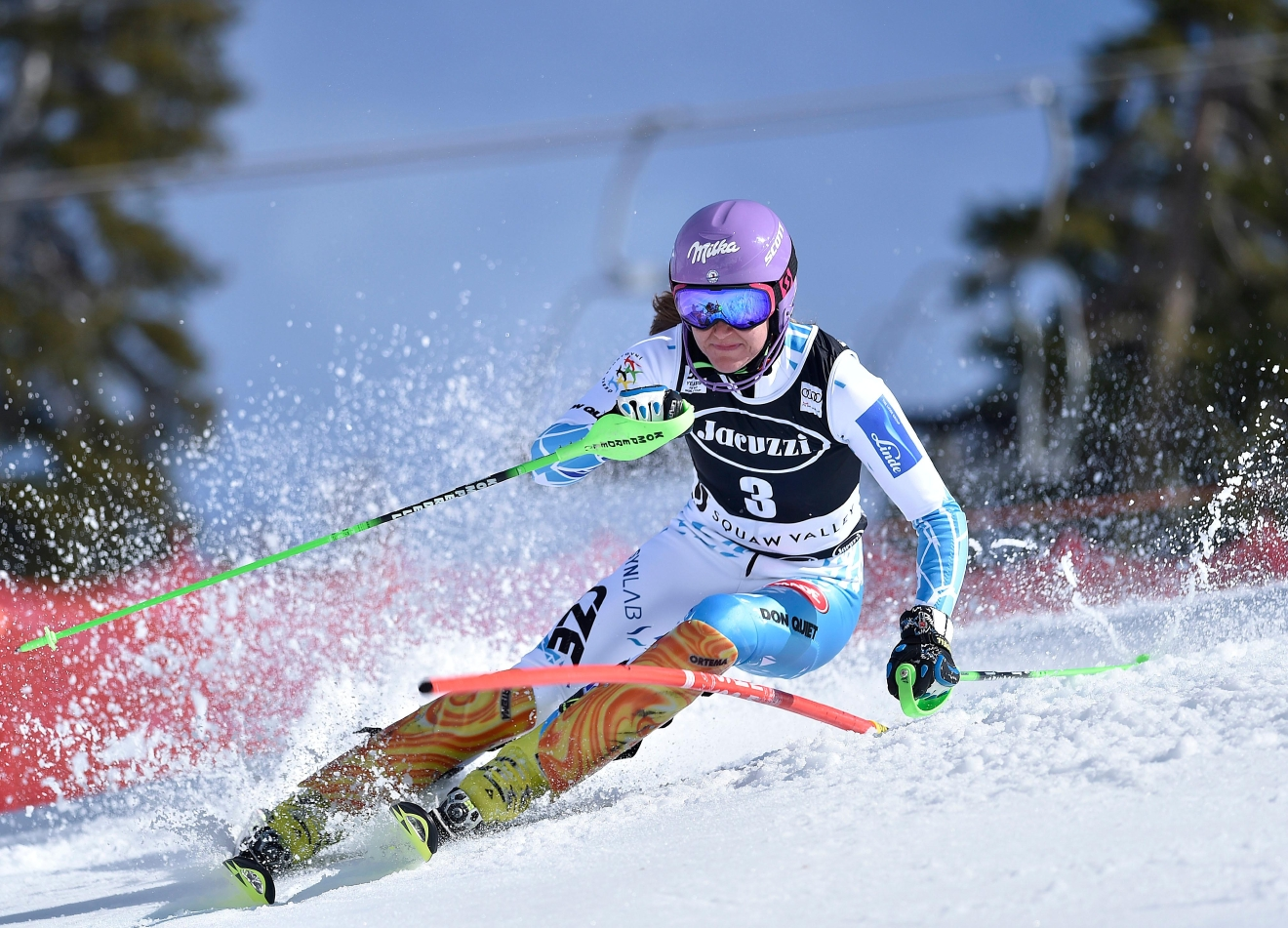 Sarka Strachova, of the Czech Republic, completes during the second run in the women's World Cup slalom competition Saturday, March 11, 2017, in Olympic Valley, Calif. (AP Photo/Scott Sady)