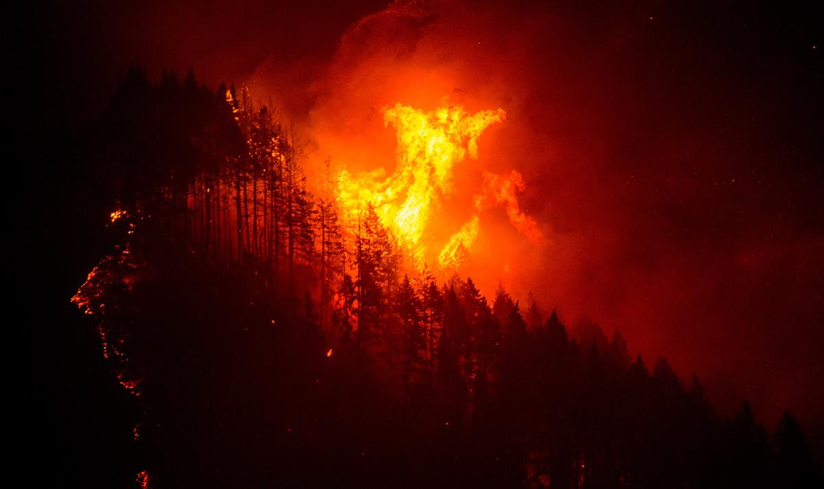 The human-caused Eagle Creek Fire grew from 3,200 acres early Monday to 4,800 acres by the end of the day. It forced the Oregon Department of Transportation to close Interstate 84 in both directions between Hood River and Troutdale. Photo by Tristan Fortsch