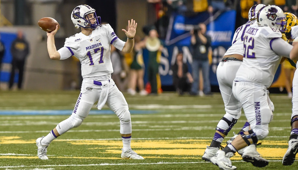 JMU 27, NORTH DAKOTA STATE 17: Khalid Abdullah ran for 180 yards and caught a TD pass from Bryan Schor as the Dukes (13-1) stunned North Dakota State (12-2) in Fargo to earn its first trip to the FCS championship game since 2004. The Dukes led 17-0 but the five-time defending national champions rallied to tie. Tyler Gray's career-long 45-yard field goal in the third quarter put the Dukes ahead to stay. Bryan Schor's 25-yard TD pass to John Miller provided the dagger. (Photo courtesy JMU Athletics)