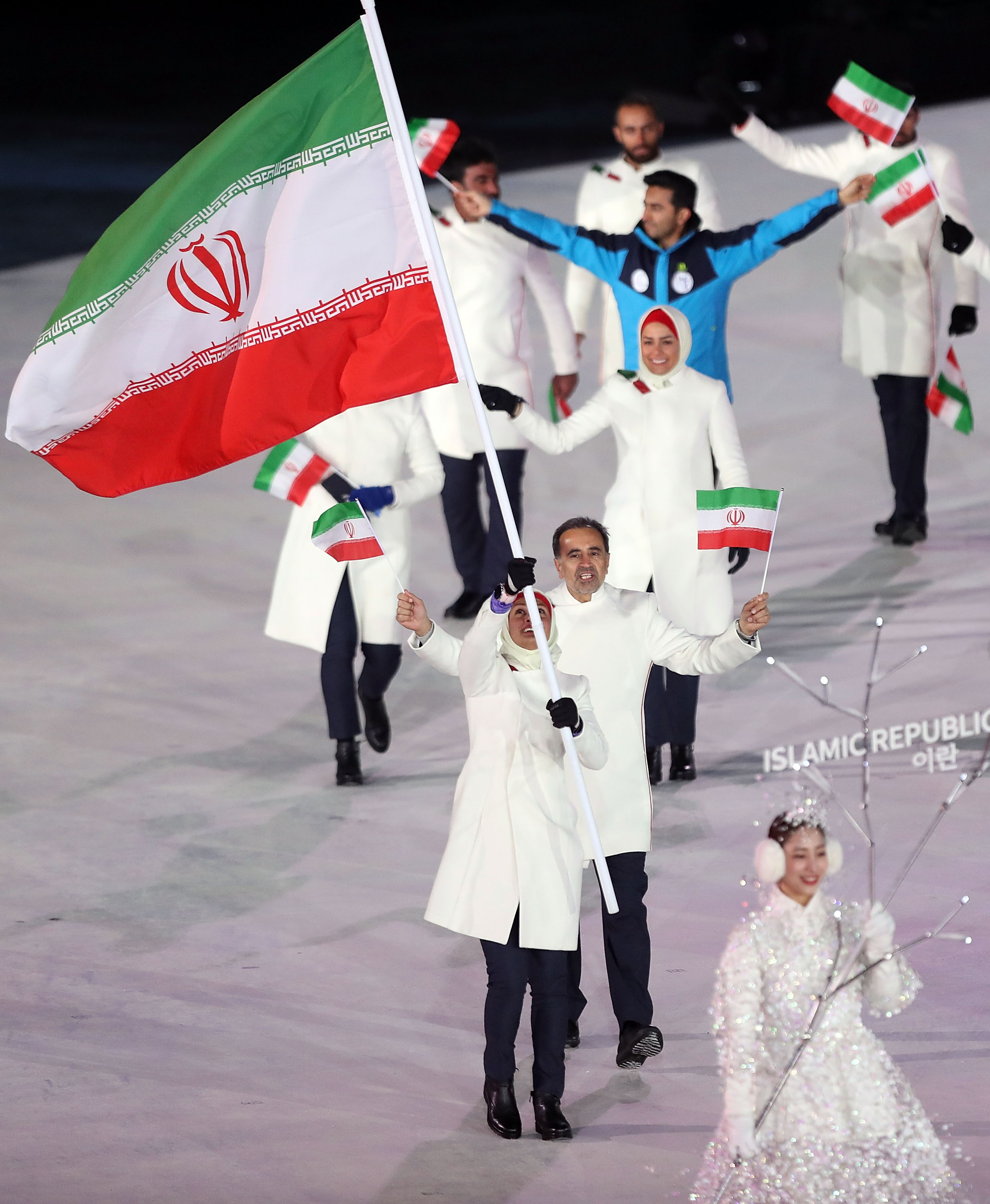 PYEONGCHANG-GUN, SOUTH KOREA - FEBRUARY 09:  Samaneh Beyrami Baher Flag bearer of Islamic Republic of Iran during the Opening Ceremony of the PyeongChang 2018 Winter Olympic Games at PyeongChang Olympic Stadium on February 9, 2018 in Pyeongchang-gun, South Korea.   fee liable image, copyright © ATP  Amin JAMALI  XXIII. OLYMPIC WINTER GAMES PYEONGCHANG 2018: OPENING CEREMONY,  PyeongChang, Korea, Winter Olympics; PyeongChang Olympic Stadium, on 9. February 2018, fee liable image, copyright © ATP / Amin JAMALI  Featuring: Samaneh Beyrami Baher Flag bearer of Islamic Republic of Iran Where: Pyeongchang, Gangwon Province, South Korea When: 09 Feb 2018 Credit: ATP/WENN.com  **Not available for publication in Germany or France. No Contact Music.**