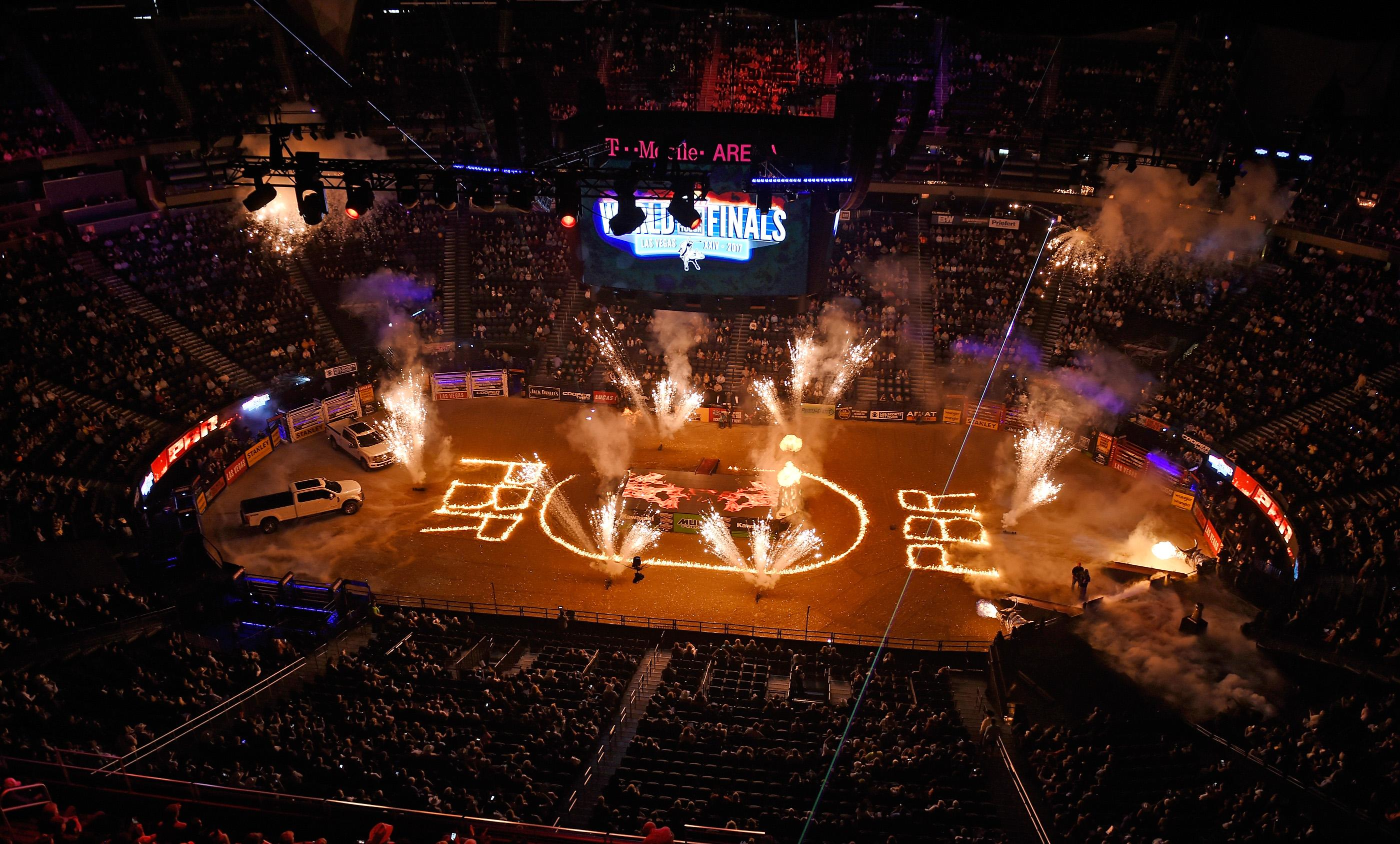 The pyrotechnics displayed is seen before the start of the the PBR World Finals at T-Mobile Arena Sunday, Nov. 5, 2017, in Las Vegas. [David Becker/Las Vegas News Bureau]