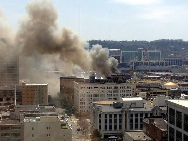 Viewer-submitted photo of the fire in downtown Birmingham seen from the 19th floor of the Regions-Harbert Plaza on Friday, March 29, 2013.