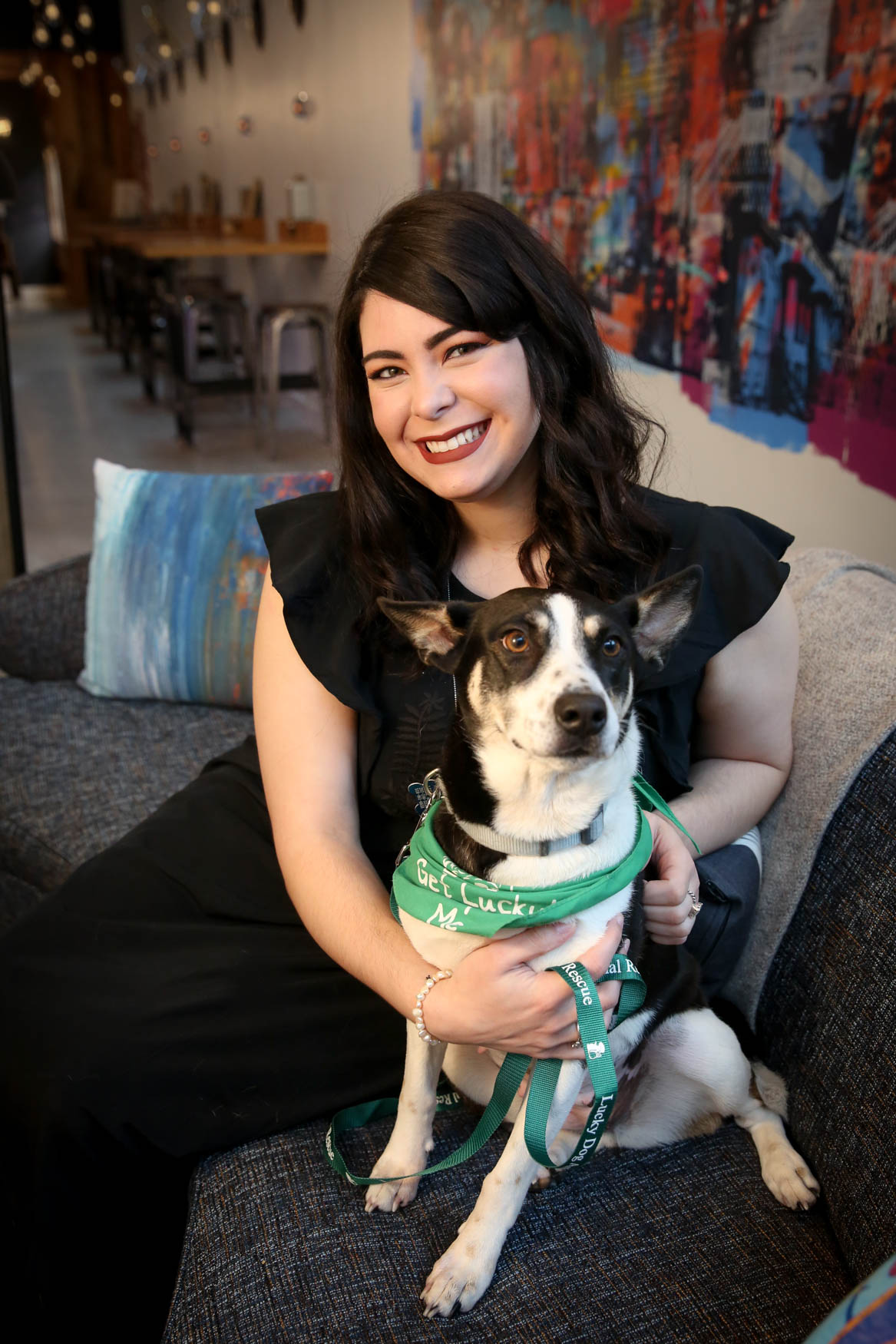 Meet Oreo and Cristina, a 3-year-old Shepherd/Husky mix{ } and a 26-year-old human respectively. Photo location: Moxy Washington, D.C. Downtown (Image: Amanda Andrade-Rhoades/ DC Refined)