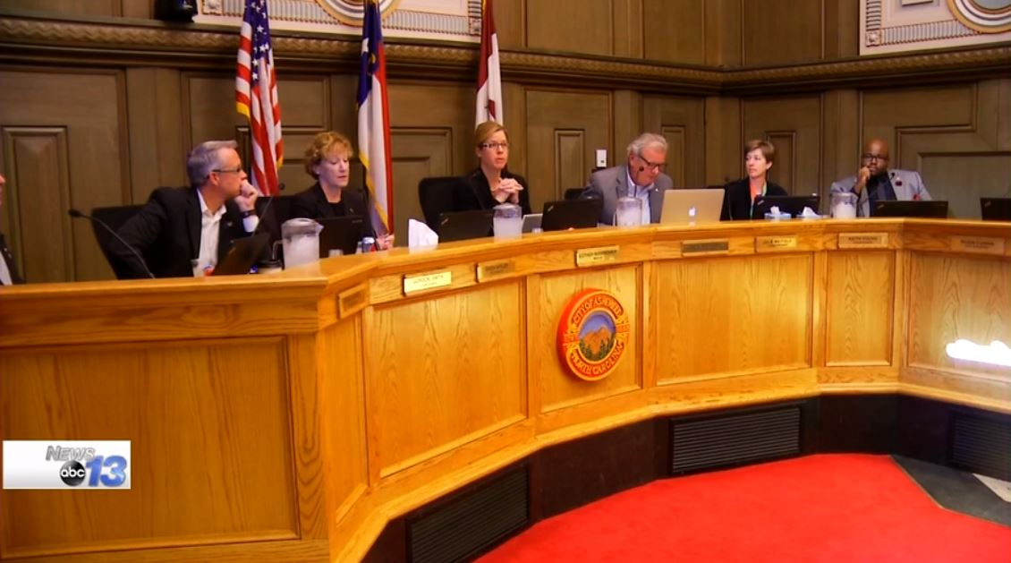 Asheville City Council meets on April 12, 2016 and voted to pass a resolution that called House Bill 2 unconstitutional. (Photo credit: WLOS staff)