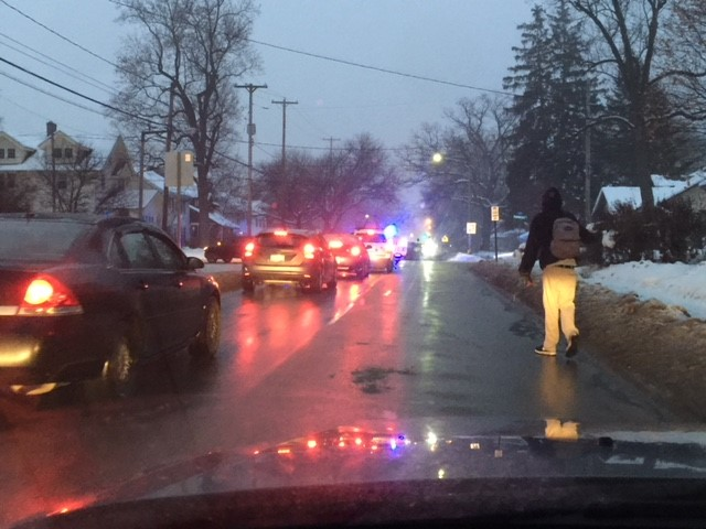 Westnedge Avenue was shut down at Parkwood on the hill Tuesday morning for a power line down. (WWMT/Jessica Wheeler)