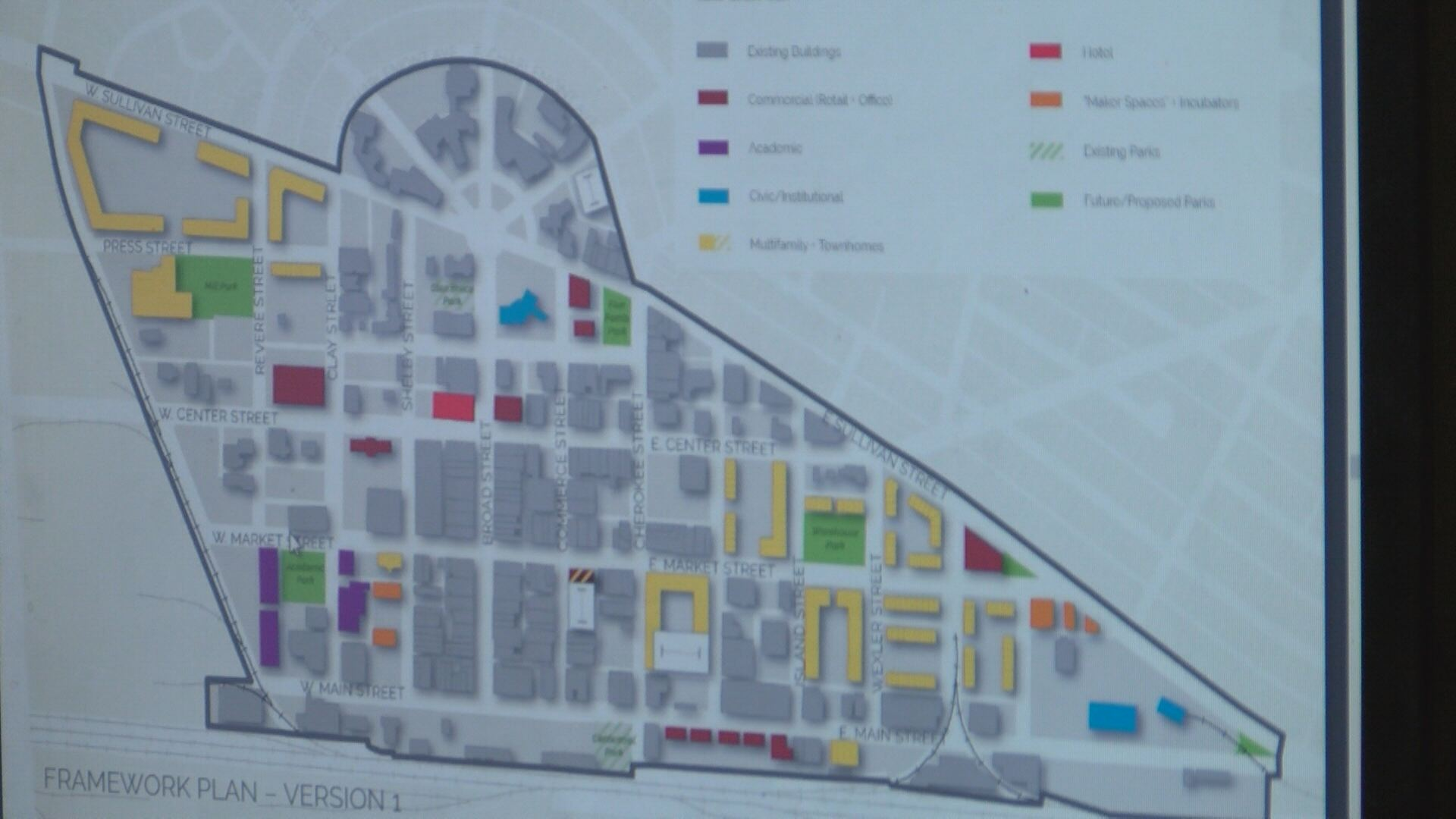 A visual of the downtown master plan. City developers will continue to revise it. (Thomas Gray/WCYB)