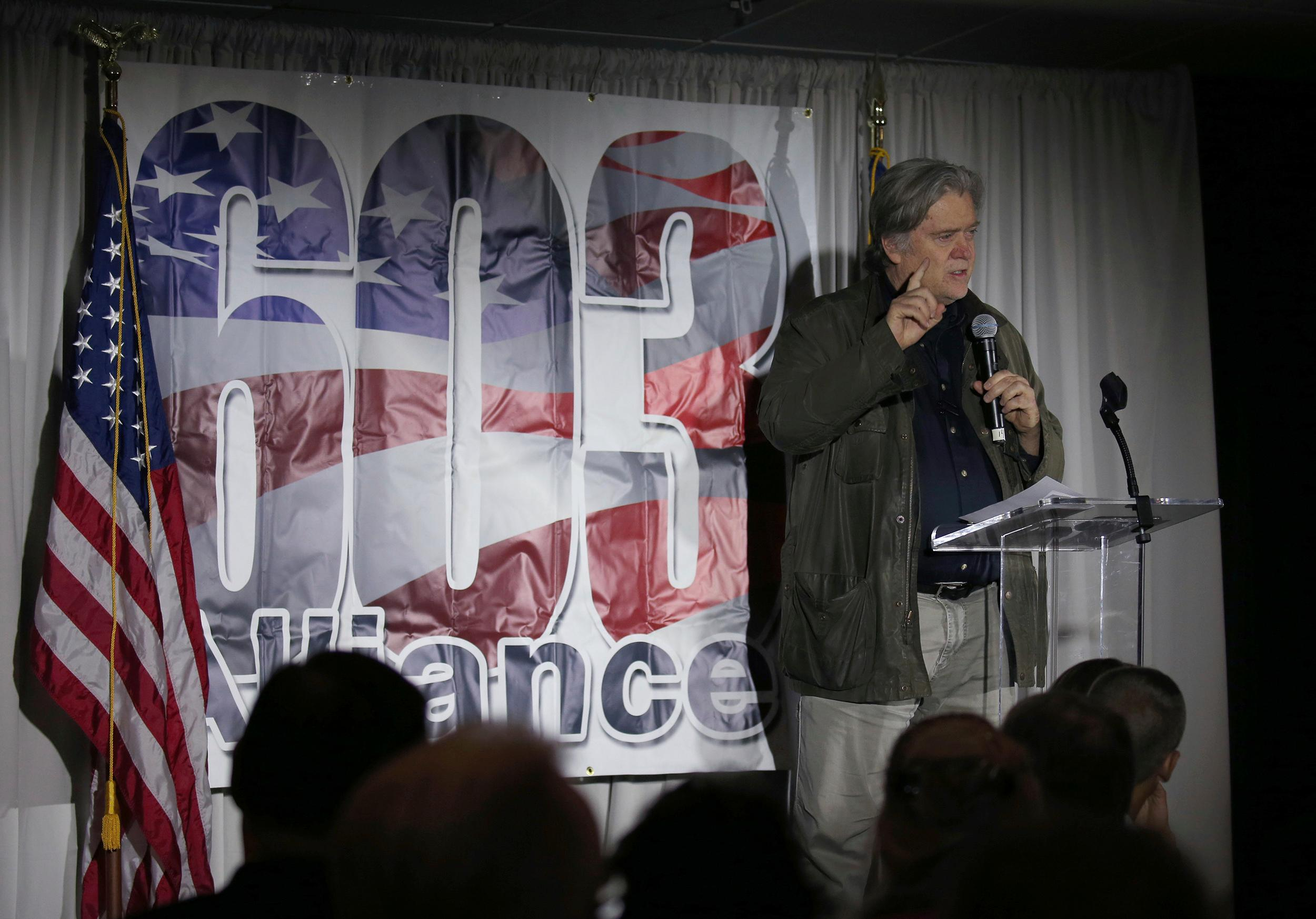 Steve Bannon, the former chief strategist to President Donald Trump, speaks during an event in Manchester, N.H., Thursday, Nov. 9, 2017. (AP Photo/Mary Schwalm)