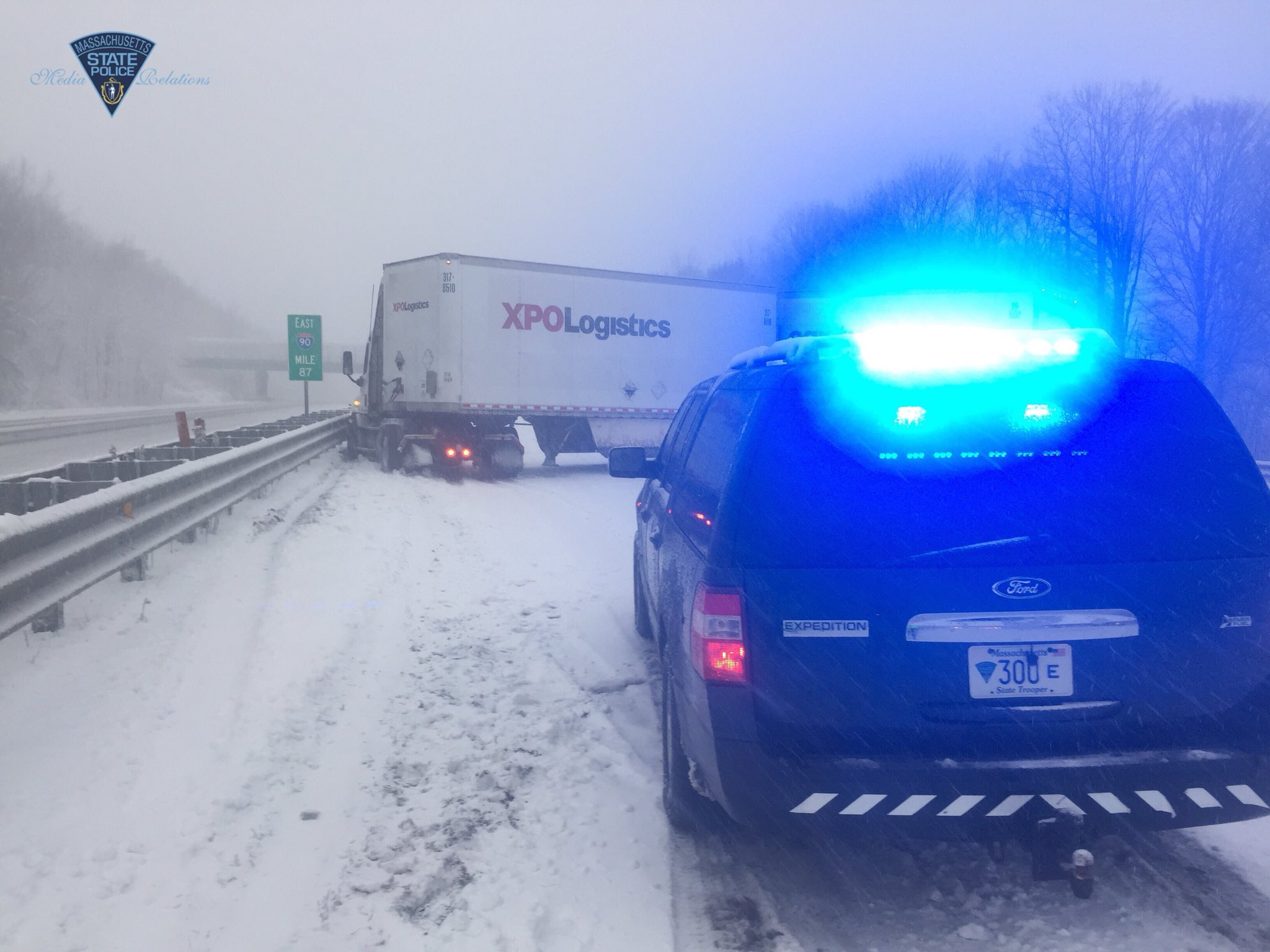 Massachusetts State Police released this image of a tandem tractor-trailer truck jackknifed on the Massachusetts Turnpike in Charlton, Tuesday, March 13, 2013.