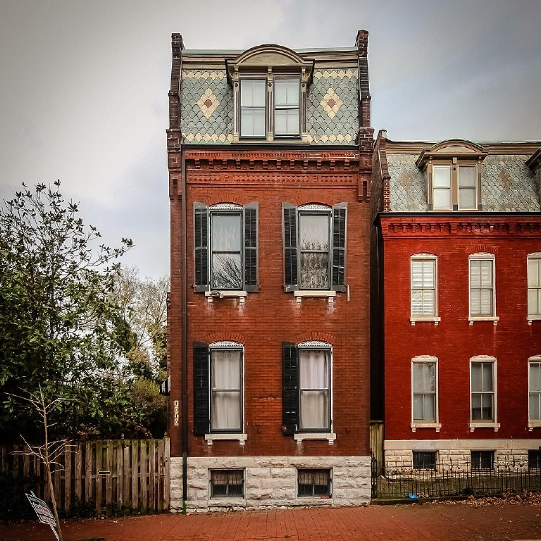 "IMAGE: IG user @jhoff1257 / POST: ""101 Allen in St. Louis' historic Soulard. Could use some new shutters. Happy Mansard Monday!"" / MORE: Check out #MansardMonday by following IG user @archi_ologie"