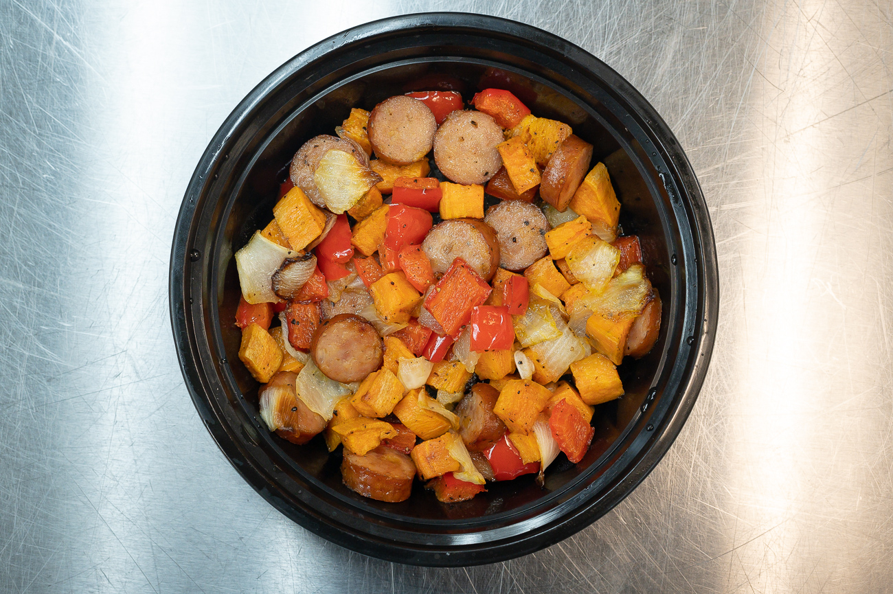 Prepped Girl's Roasted Sweet Potato & Apple Sausage: Sweet Potato, chicken apple sausage, and red bell pepper / Image: Phil Armstrong, Cincinnati Refined // Published: 8.17.19