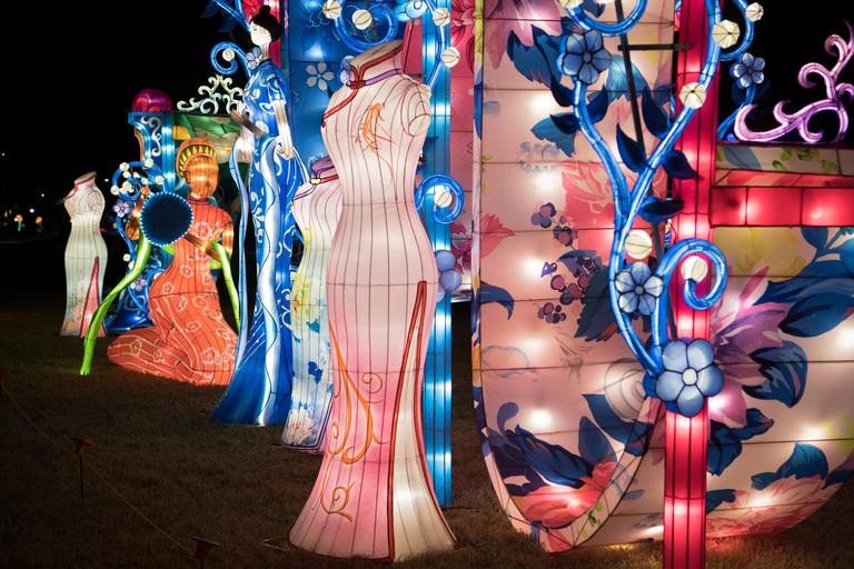 A display pays homage to the traditional Chinese women's dress called cheongsam on the opening night of the China Lights lantern festival Friday, January 19, 2018, at Craig Ranch Regional Park in North Las Vegas. The festival, which features nearly 50 silk and LED light displays comprised of over 1000 elements, runs through February 25th. CREDIT: Sam Morris/Las Vegas News Bureau