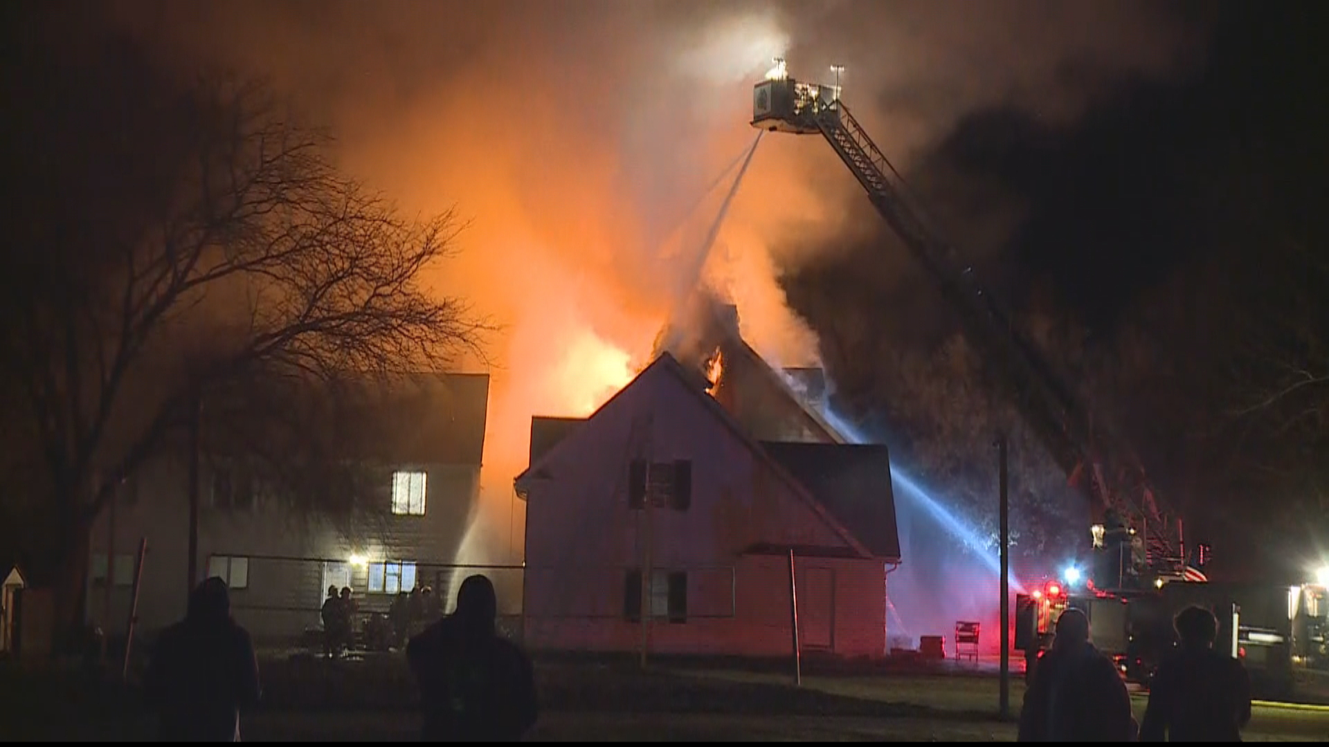 A fire started around 9 p.m. at the Sigma Nu fraternity house at 1570 Flushing road, according to a resident of the home.{ }(Photo: WEYI/WSMH)