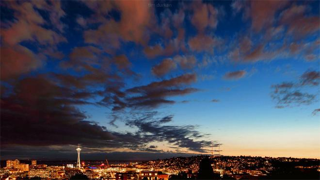 Sunset over Seattle by Tim Durkan