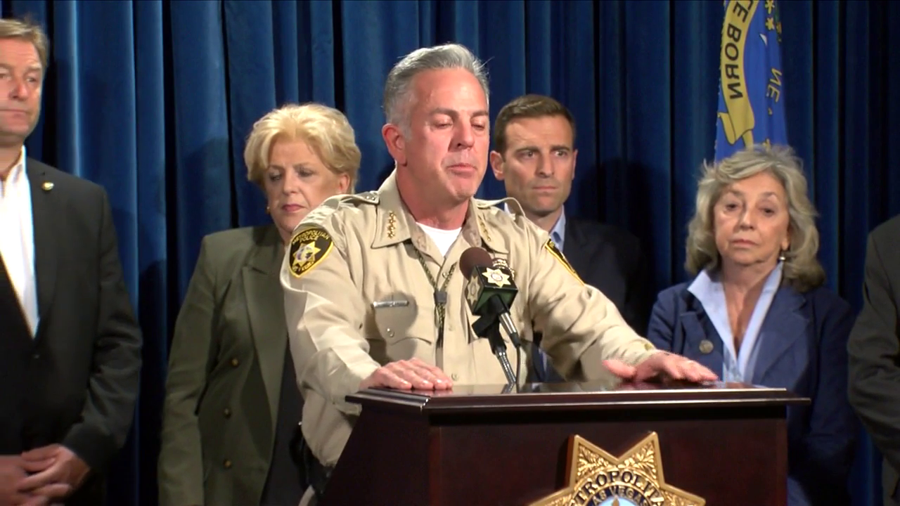 Clark County Sheriff Joseph Lombardo speaks at a press conference on the Las Vegas mass shooting Monday, Oct. 2, 2017 (SBG)