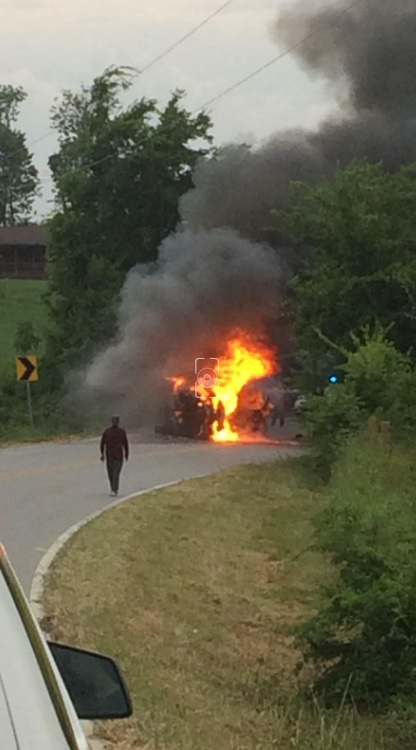 A head-on collision shuts down a portion of Mahan Gap Road Sunday. (PHOTO: Brian Lineberry)