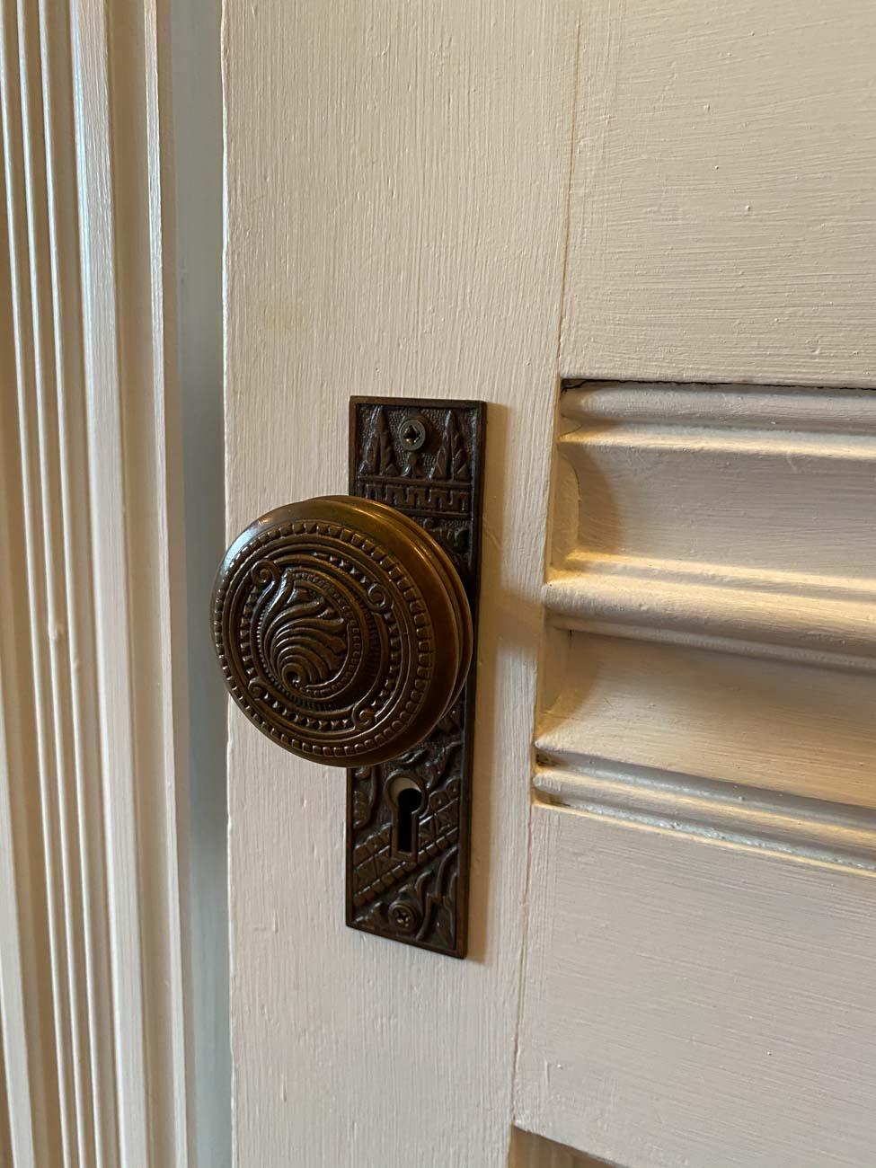 Manning made sure to have the original hinges and door knobs restored, as well. / Image: Michael Manning // Published: 1.12.21