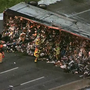 Houston freeway shut down after garbage truck explodes
