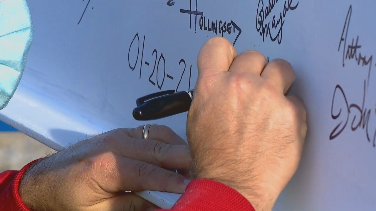 "A ""topping out"" ceremony was held Wednesday, Jan. 20, to celebrate the construction of the Hendersonville Police Station. City council members, police department staff and others had the opportunity to sign the final construction beam and tour the building's progress. (Photo credit: WLOS Staff)"