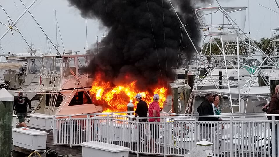 A boat caught fire in the Fort Pierce City Marina on Saturday. (Courtesy: Roy Verschueren)