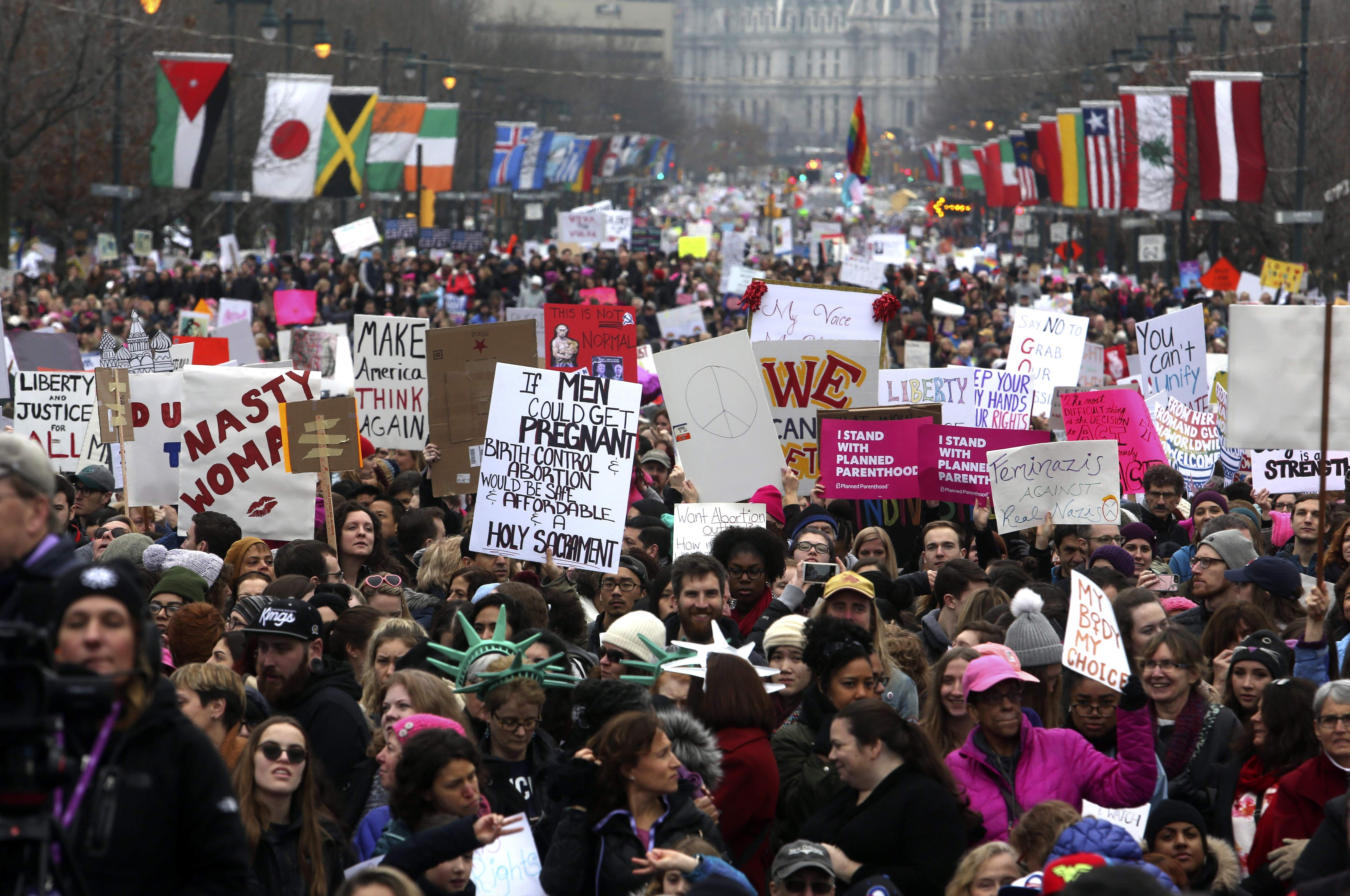 Thousands of protesters fill the Benjamin Franklin Parkway as they participate in a Women's March Saturday Jan. 21, 2017 in Philadelphia. The march is being held in solidarity with similar events taking place in Washington and around the nation. THE ASSOCIATED PRESS