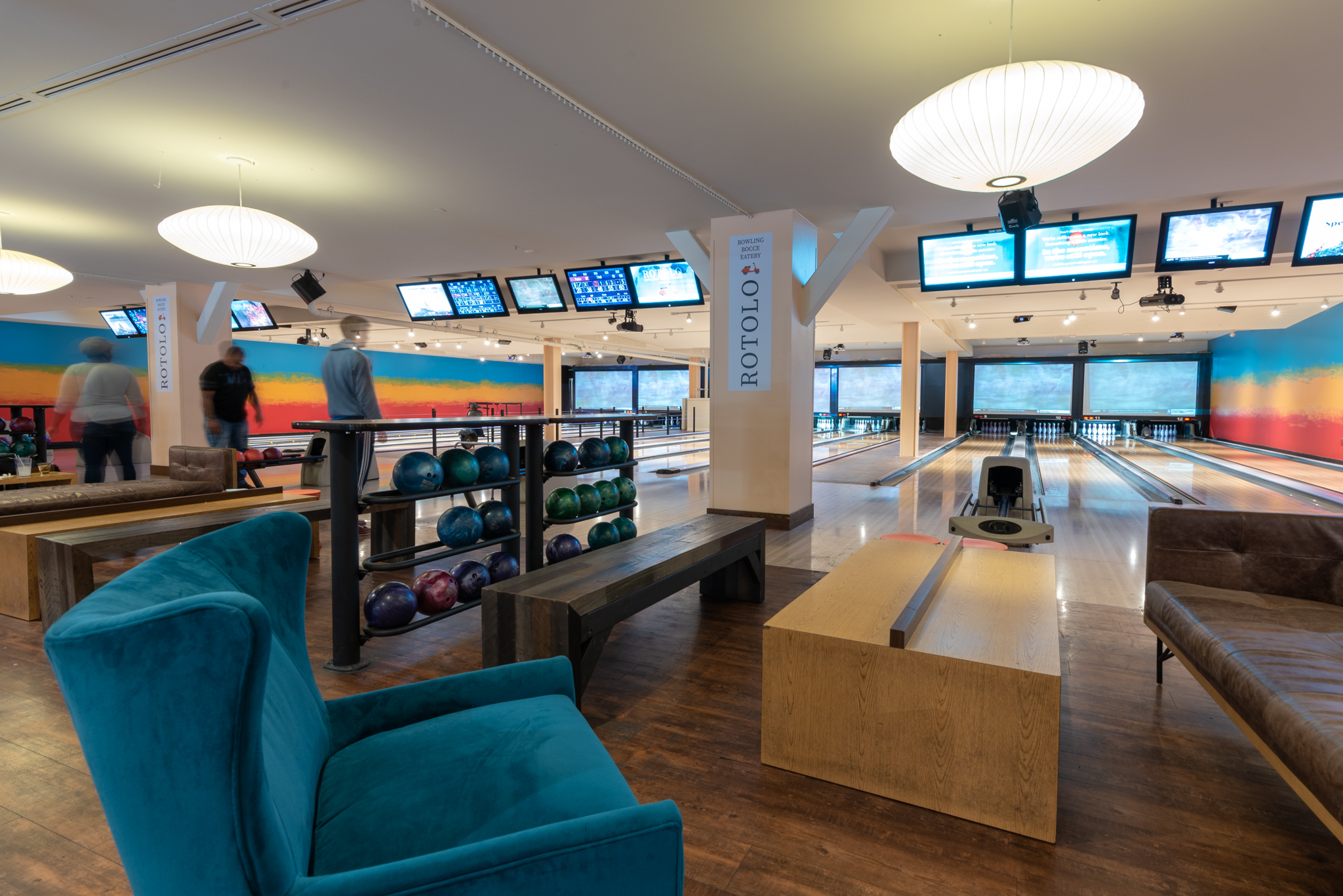 Rotolo sports 16 bowling lanes, a VIP area with private bowling lanes, pool/foosball/ping pong/air hockey/shuffleboard tables, giant checkers, and a bocce court. ADDRESS: 1 Levee Way (41071) / Image: Phil Armstrong, Cincinnati Refined // Published: 1.12.19
