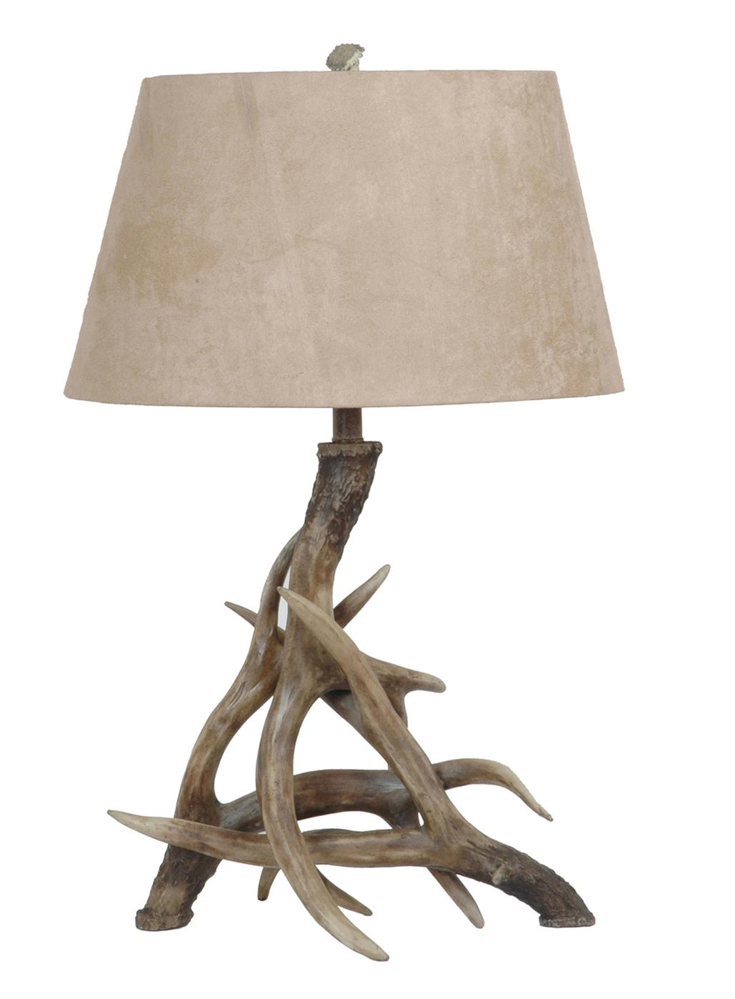 Combine faux suede and rustic wood legs for an an-home-feel inspired lamp. (View at bit.ly/Antler-Lamp)