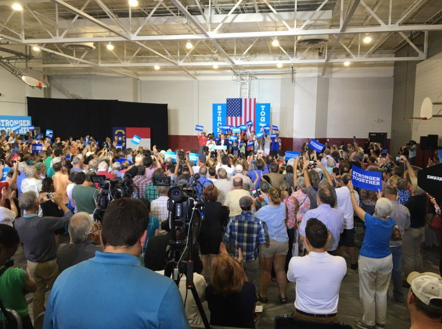 The scene at the Arthur R. Edington Education & Career Center in Asheville on Monday where Sen. Tim Kaine is set to speak. (Photo credit: WLOS staff)