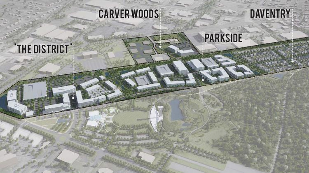 Speaking of what's coming next, here it is. Summit Park will be a 110-acre mixed-use development with Class A office space, luxury apartments, and retail. It's being developed by Al Neyer, one of the sponsors of the Blue Ash Bike Share. / Image courtesy of Al. Neyer // Published: 8.28.18