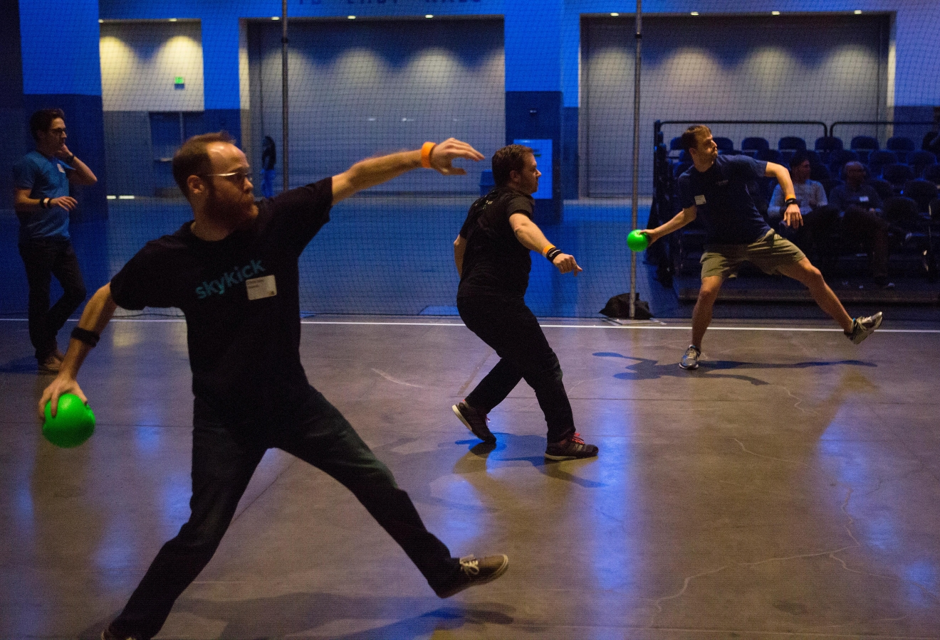 Participants take aim during one of the dodgeball tournaments at the 6th annual Geekwire Bash at the CenturyLink Event Center. (Sy Bean / Seattle Refined)
