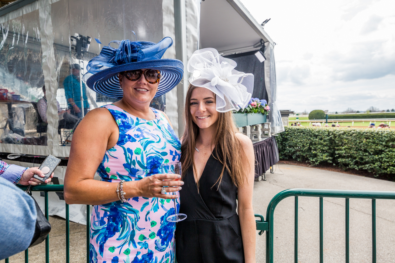 Attendees Darcye and Cameryn Kitchen show off their fascinators trackside at Keeneland{ } / Image courtesy of Catherine Viox // Published:{ }4.12.19