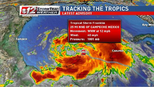 TS Franklin may become a hurricane Wednesday