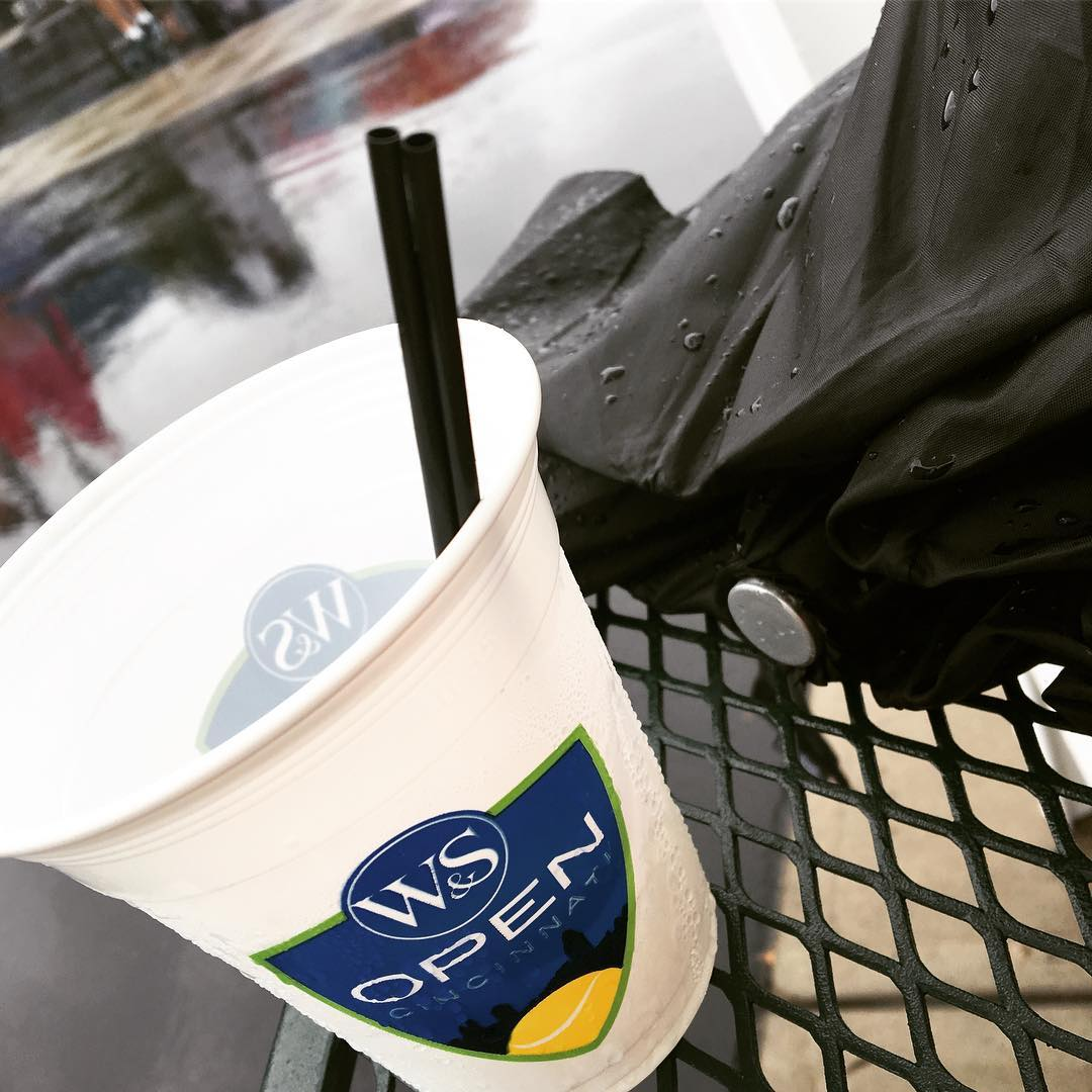 IMAGE: IG user @lizammond / POST: One could get a little tipsy drinking away these rain delays.  #cincytennis #wsopen #rainraingoaway