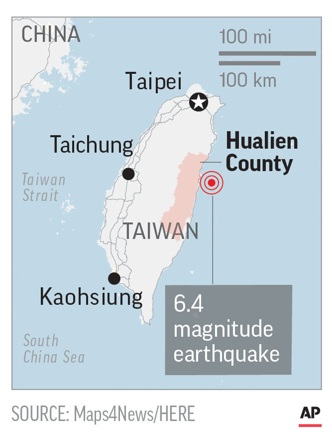 Map locates a magnitude-6.4 earthquake near the coast of Taiwan.; 1c x 3 inches; 46.5 mm x 76 mm. (AP)
