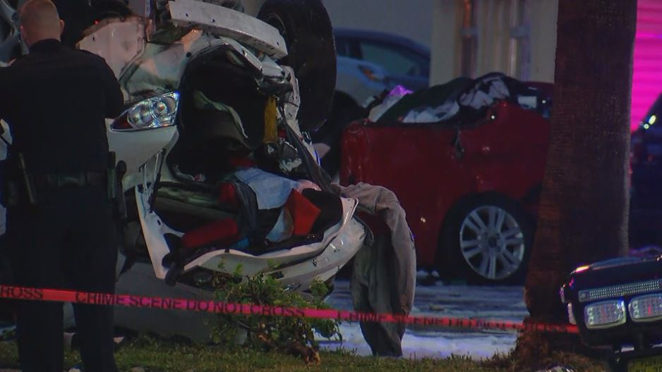 Rollover crash blocks Broadway in West Palm Beach. (WPEC)